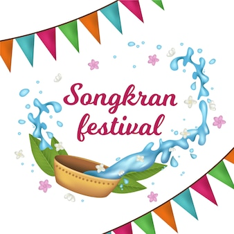 Songkran réaliste avec des guirlandes et de l'eau