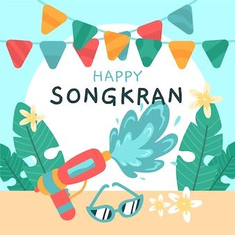 Songkran de style dessiné à la main