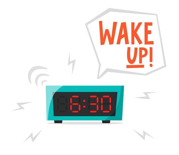 Sonnerie réveil horloge électronique concept tôt le matin se réveiller tôt vecteur plat