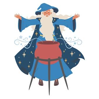 Le sorcier fait bouillir une potion magique