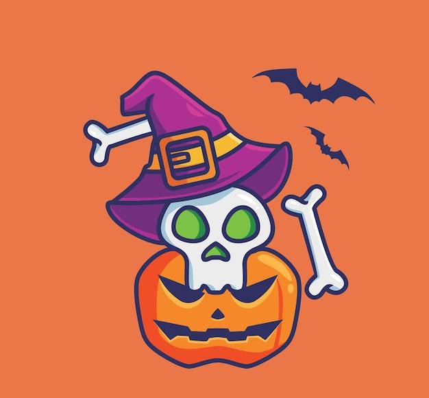 Sorcier mignon de crâne et citrouille. concept d'événement halloween de dessin animé illustration isolée. style plat adapté au vecteur de logo premium sticker icon design. personnage mascotte