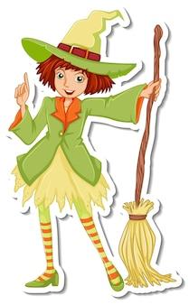 Une sorcière avec un autocollant de personnage de dessin animé de balai