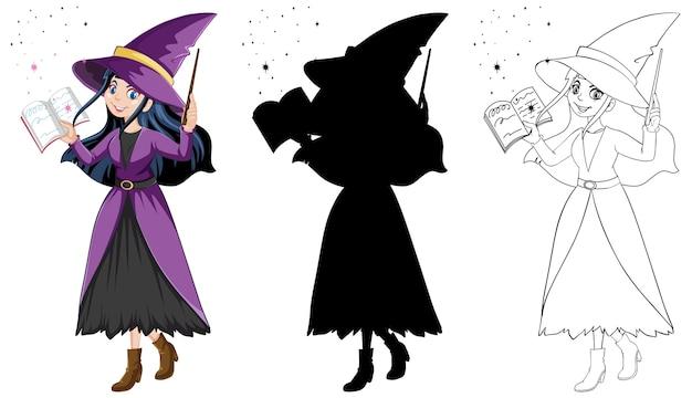 Sorcière avec baguette magique en couleur et contour et personnage de dessin animé silhouette isolé sur fond blanc