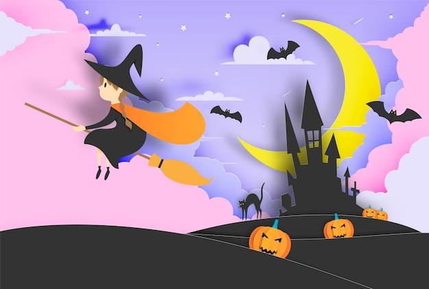 Sorcière sur le balai papier art style avec le ciel dans la nuit pour l'illustration vectorielle halloween