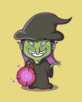 La sorcière balance sa baguette en riant
