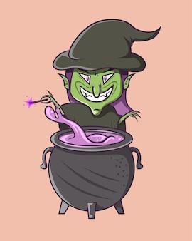 La sorcière balance sa baguette vers le liquide magique dans la fournaise