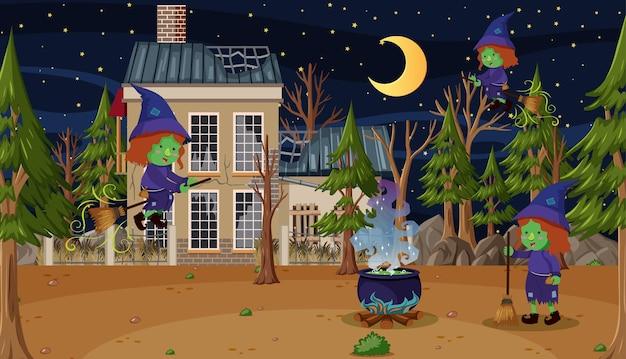 Sorcière chevauchant un balai devant une maison hantée dans les bois