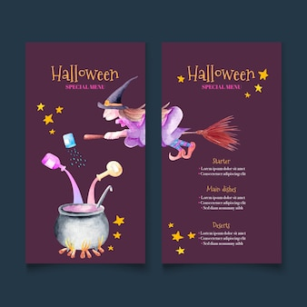 Sorcière chevauchant un modèle de menu de restaurant halloween balai