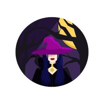 Sorcière avec un corbeau sur son épaule fête d'halloween des morts et des fantômes illustration vectorielle