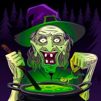 Sorcière cuisinant pour la sorcellerie d'halloween visage vert effrayant
