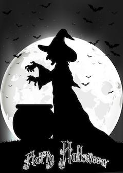La sorcière cuisine à la pleine lune