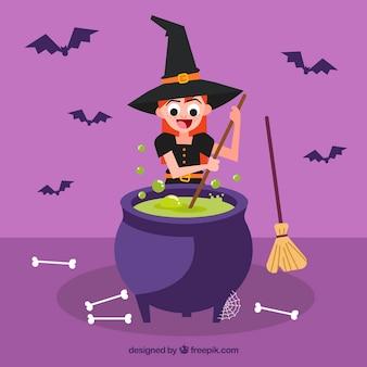 La sorcière cuisine avec un pot magique