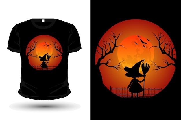 Sorcière dans la conception de t-shirt de maquette de silhouette de marchandise au clair de lune