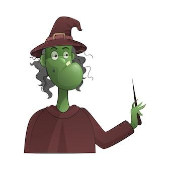 Sorcière de dessin animé tenant un bâton magique sur fond blanc.