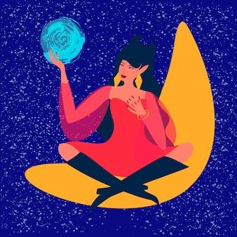 La sorcière est assise sur la lune