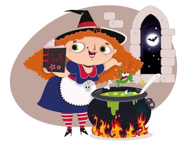 La sorcière faisant une potion sur son chaudron pendant la pleine lune illustration vectorielle