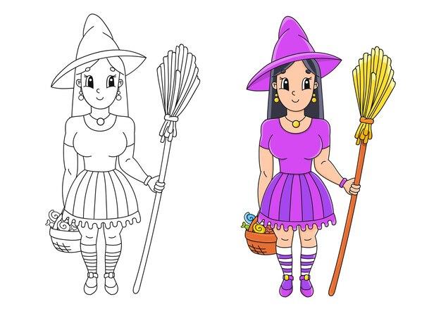 Sorcière D'halloween Au Chapeau Avec Un Balai Page De Livre De Coloriage Pour Les Enfants Vecteur Premium
