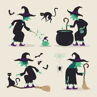 Sorcière d'halloween faisant diverses activités avec leurs balais, chats noirs, chauves-souris, grenouilles, araignées, potions et chaudrons