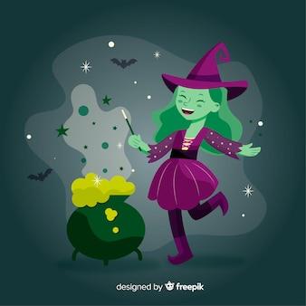 Sorcière d'halloween mignonne faisant le sort