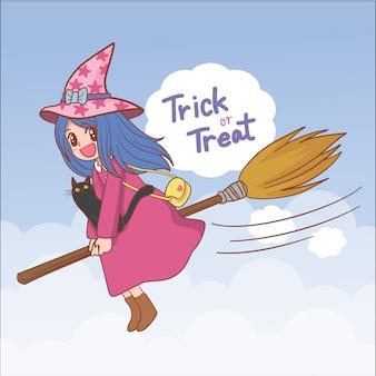 Sorcière d'halloween de personnage de dessin animé dessiné à la main