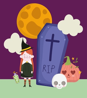 Sorcière d'halloween et pierre tombale