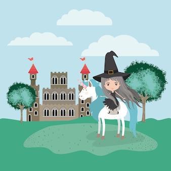 Sorcière avec licorne dans le camp et le château