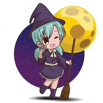 Sorcière mignonne halloween