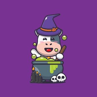 Sorcière mignonne de vache faisant des potions illustration de dessin animé mignon halloween