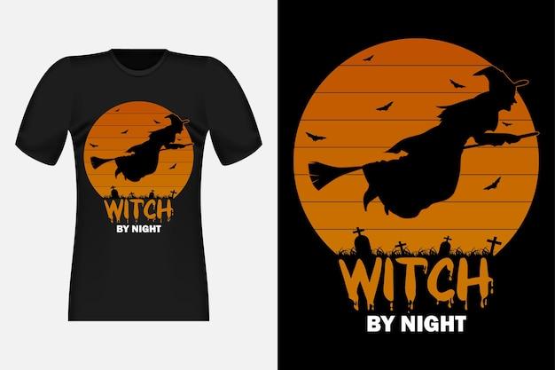 Sorcière de nuit silhouette vintage retro t-shirt design