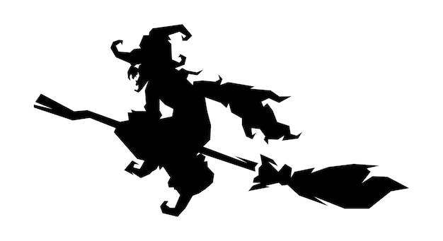 Sorcière, silhouette de sorcière volant avec un balai magique isolé sur illustration vectorielle fond blanc.