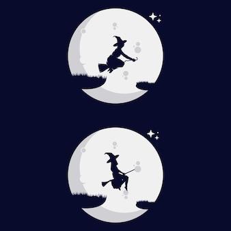 Sorcière survolant la lune