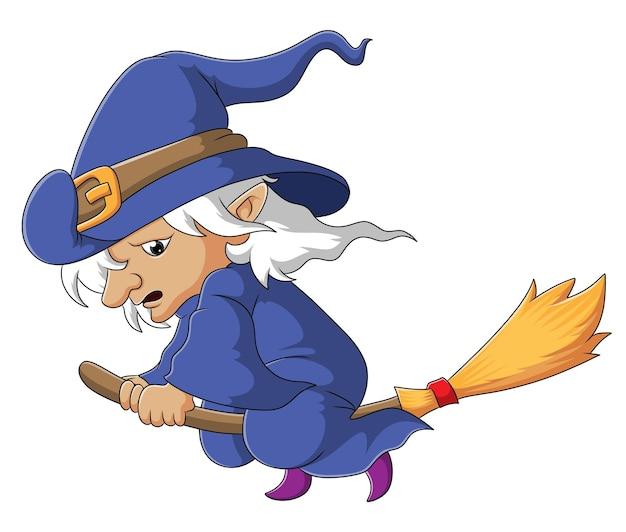 La sorcière triste vole avec le balai magique de l'illustration
