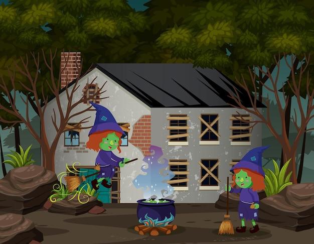 Sorcière vivant dans la maison dans la forêt sombre