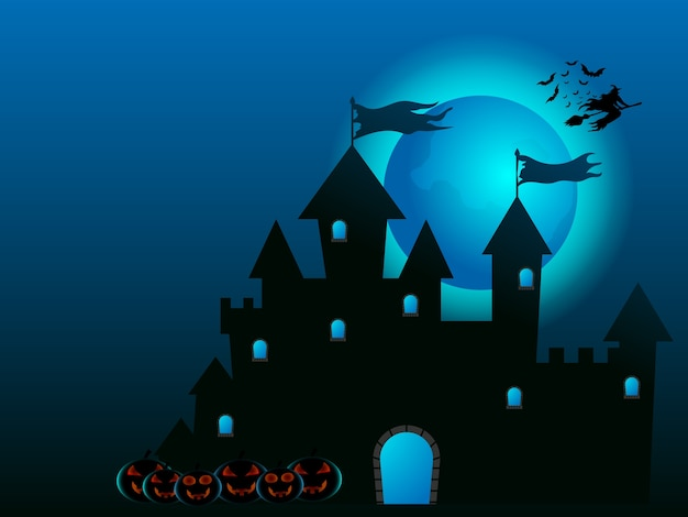 Sorcière volant sur le château et les citrouilles en illustration de dessin animé de nuit halloween