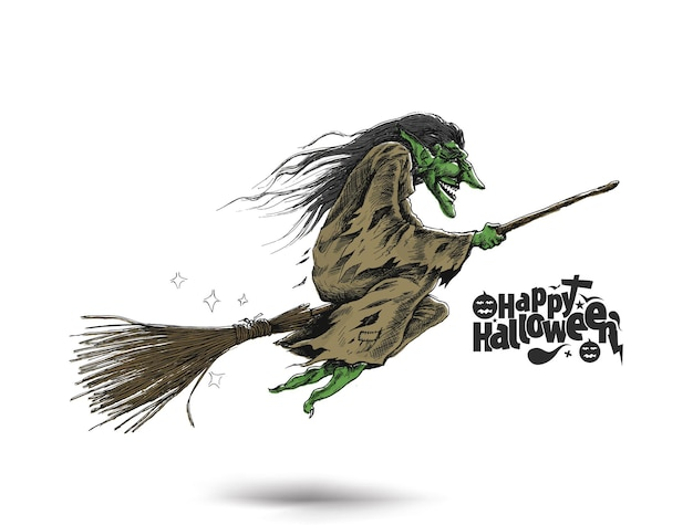 Sorcière volante avec texte happy halloween, illustration vectorielle de croquis dessinés à la main.