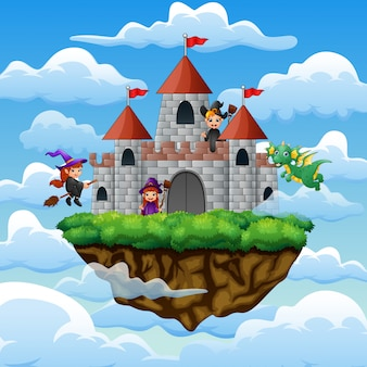 Sorcières et dragon volaient autour du château sur les nuages