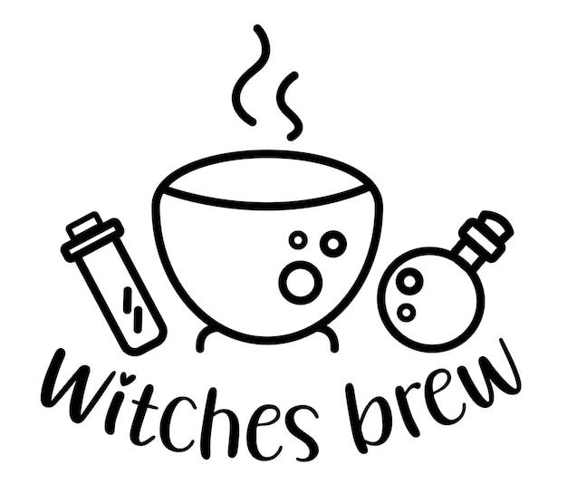 Les sorcières préparent des lettres manuscrites avec des bouteilles de chaudron et de potion