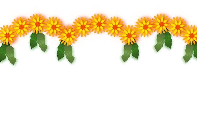 Souci. guirlande de feuilles vertes. fleur coupée en papier jaune orange. fête indienne des fleurs et des feuilles de mangue. joyeux diwali, dasara, dussehra, ugadi. éléments décoratifs pour la célébration indienne.