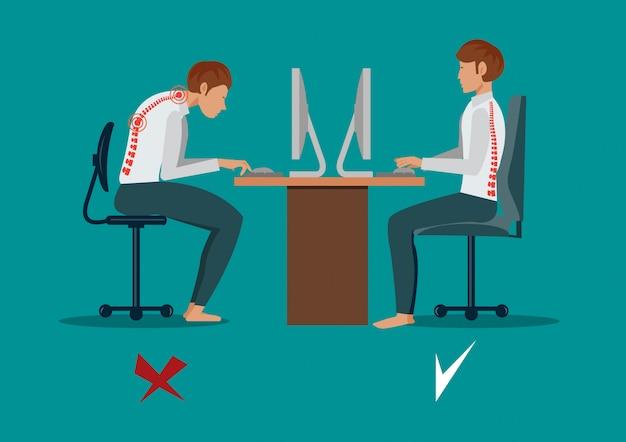Souffrant de mal de dos. homme d'affaires au travail. illustration