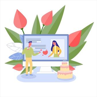Souhaits D'anniversaire, Utilisation De L'application De Chat Via Un Ordinateur Vecteur Premium