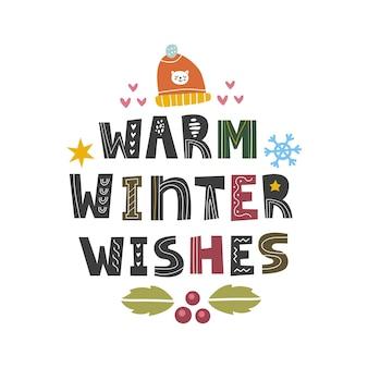 Souhaits chauds d'hiver dans un style scandinave. citation de thème de noël