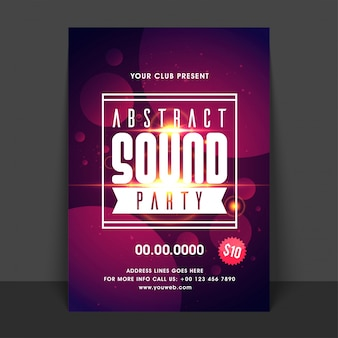 Sound music party flyer, conception de modèle. fond abstrait créatif avec effet d'éblouissement de lentille d'or.