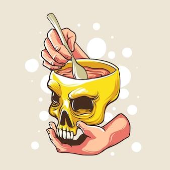 Soupe de cerveau avec un bol de crâne