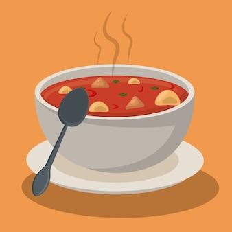 Soupe chaude, pâtes, légumes, bol, plat, cuillère