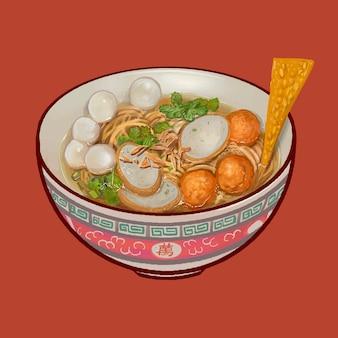 Soupe de nooodle avec illustration de boulettes de poisson