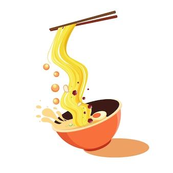 Soupe splash asie nouilles alimentaire