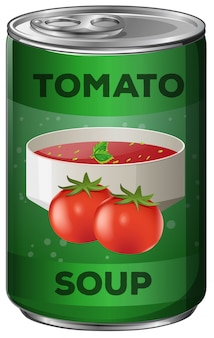 Soupe de tomates en canette d'aluminium