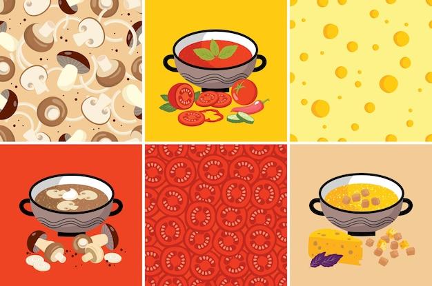 Soupes végétariennes, objet, motif.