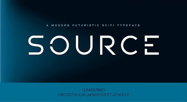 Source, une police de caractères d'alphabet futuriste moderne et minimaliste scifi tech.
