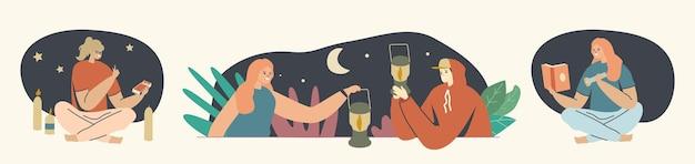 Sources de lumière concept. hommes et femmes avec lampe de poche, lanterne et allumettes ou bougies la nuit. les personnages masculins et féminins utilisent des fournitures différentes pour l'éclairage. illustration vectorielle de gens de dessin animé